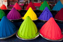 Color powder in India. Piles of color powder in a market in India Royalty Free Stock Photo
