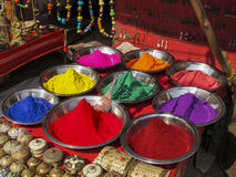 Color powder in India. Powder of different colors in an Indian market Stock Photography