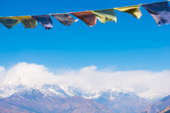 Color prayer flags on the mountain in Nepal Royalty Free Stock Image