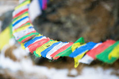Color prayer flags on top of Annapurna base camp Royalty Free Stock Image