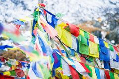 Color prayer flags on top of Annapurna base camp Royalty Free Stock Photo