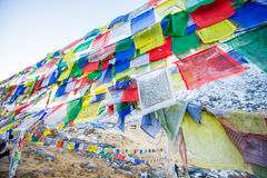 Color prayer flags on top of Annapurna base camp Royalty Free Stock Images