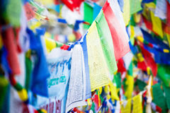 Color prayer flags on top of Annapurna base camp Stock Photos