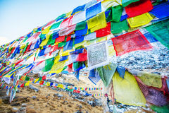 Color prayer flags on top of Annapurna base camp Stock Photography
