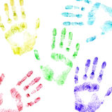 Color print of human hands. The detailed image. It is isolated on a white background Royalty Free Stock Photo