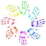 Color print of human hands. The detailed image. It is isolated on a white background Royalty Free Stock Photos