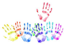 Color print of human hands.Concept of voting Stock Image