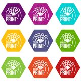 Color print icons set 9 vector. Color print icons 9 set coloful isolated on white for web Royalty Free Stock Photography