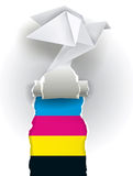 Color print origami concept Royalty Free Stock Photo