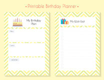 Color printable planner set. Printable Birthday Planner Set. Birthday plan and Wish List. Paper page for notebook, organizer, diary Royalty Free Stock Photography