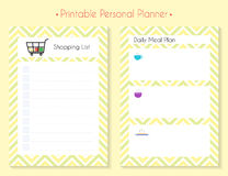 Color printable planner set. Printable diary pages for meal planning and shopping. Paper organizer page set for notebook, organizer, planner Royalty Free Stock Image