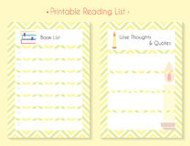Color printable planner set. Printable diary pages Wise Thoughts and Quotes and Book List. Paper organizer page set for notebook, organizer, planner Royalty Free Stock Image