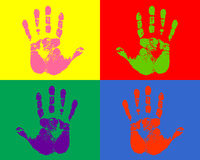 Color printed hands. This is a colorful illustration of printed hands Royalty Free Stock Image