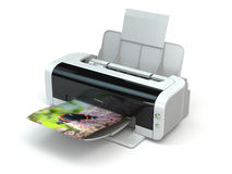 Color printer prints photo on white  background. Royalty Free Stock Images