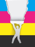 Color printing promotion. Paper silhouette man ripping paper with print colors. Concept for presenting of color printing. Vector illustration Stock Images