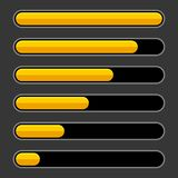 Color Progress Bar Set on Dark Background. Vector. Illustration stock illustration
