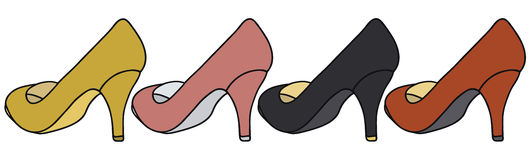 Color pumps. Hand drawing of four color pumps Stock Photography