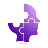 The color purple human head composed of purple puzzle pieces with gray shadow below the head on a white background. Incomplete hum. An head composed of geometric Stock Photos