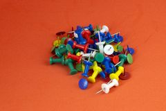 Color push pins stock photo