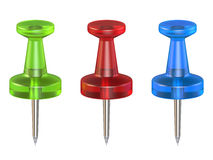 Color push pins. Front view. 3D render Royalty Free Stock Photography