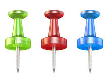 Color push pins. Front view. 3D render Stock Photo
