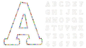 Color pushpin letters and numbers Royalty Free Stock Photo