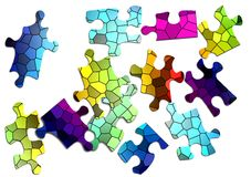 Color puzzle. Jigsaw color puzzle, photoshop illustration Royalty Free Stock Photography