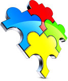 Color puzzle. 3D rendering of an color puzzle Royalty Free Stock Images