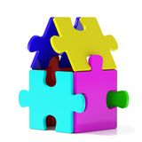 Color Puzzle Home. On whihe background Royalty Free Stock Photos