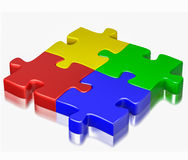 Color puzzle jigsaw pieces isolated on white background. Business, teamwork, partnership, communication cooperation corporate concept:  color red, blue, green Royalty Free Stock Images
