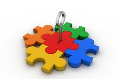 Color Puzzle with key Royalty Free Stock Image