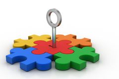 Color Puzzle with key Stock Photo