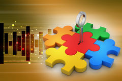 Color Puzzle with key Royalty Free Stock Photo