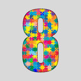 Color Puzzle Number - 8 Eight. Gigsaw, Piece. Vector Puzzle Jigsaw Number - 8 Eight. Gigsaw made of Colored Puzzle Piece - Vector Illustration. Puzzle Font Royalty Free Stock Photography