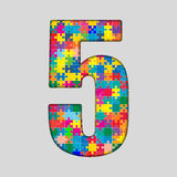 Color Puzzle Number - 5 Five. Gigsaw, Piece. Vector Puzzle Jigsaw Number - 5 Five. Gigsaw made of Colored Puzzle Piece - Vector Illustration. Puzzle Font Stock Photography