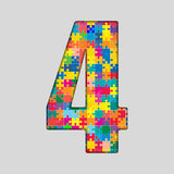 Color Puzzle Number - 4 Four. Gigsaw, Piece. Vector Puzzle Jigsaw Number - 4 Four. Gigsaw made of Colored Puzzle Piece - Vector Illustration. Puzzle Font Stock Images
