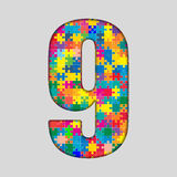 Color Puzzle Number - 9 NIne. Gigsaw, Piece. Vector Puzzle Jigsaw Number - 9 NIne. Gigsaw made of Colored Puzzle Piece - Vector Illustration. Puzzle Font Stock Photo