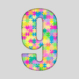 Color Puzzle Number - 9 Nine. Gigsaw, Piece. Vector Puzzle Jigsaw Number - 9 Nine. Gigsaw made of Colored Puzzle Piece - Vector Illustration. Puzzle Font Royalty Free Stock Photos