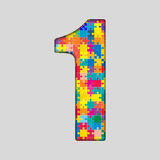 Color Puzzle Number - 1 One. Gigsaw, Piece. Vector Puzzle Jigsaw Number - 1 One . Gigsaw made of Colored Puzzle Piece - Vector Illustration. Puzzle Font Stock Photography