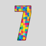 Color Puzzle Number - 7 Seven. Gigsaw, Piece. Vector Puzzle Jigsaw Number - 7 Seven. Gigsaw made of Colored Puzzle Piece - Vector Illustration. Puzzle Font Royalty Free Stock Photo