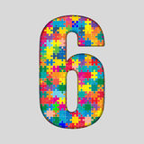 Color Puzzle Number - 6 Six. Gigsaw, Piece. Vector Puzzle Jigsaw Number - 6 Six. Gigsaw made of Colored Puzzle Piece - Vector Illustration. Puzzle Font Stock Image