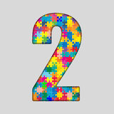 Color Puzzle Number - 2 Two. Gigsaw, Piece. Vector Puzzle Jigsaw Number - 2 Two. Gigsaw made of Colored Puzzle Piece - Vector Illustration. Puzzle Font Stock Photography