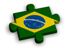 Color puzzle piece with flag of brazil Stock Photography