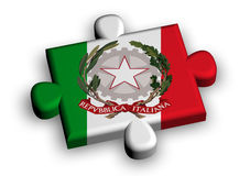 Color puzzle piece with flag of italy Stock Photos