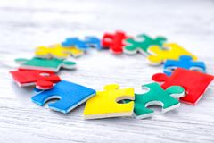 Color puzzles on background Stock Photos