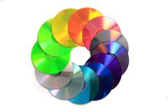 Color(rainbow)  CD and DVD media Stock Photo