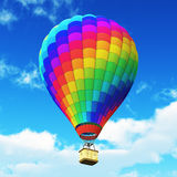 Color rainbow hot air balloon in the blue sky with clouds. Creative abstract colorful travel, tourism aerial transportation and freedom concept: 3D render Stock Images