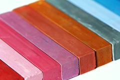 Color range - detail of the colored pastels Stock Photo