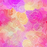 Color raster abstract hand-drawn pattern with waves and clouds i Stock Images