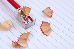 Color red art pencil on a sharpener Royalty Free Stock Photos